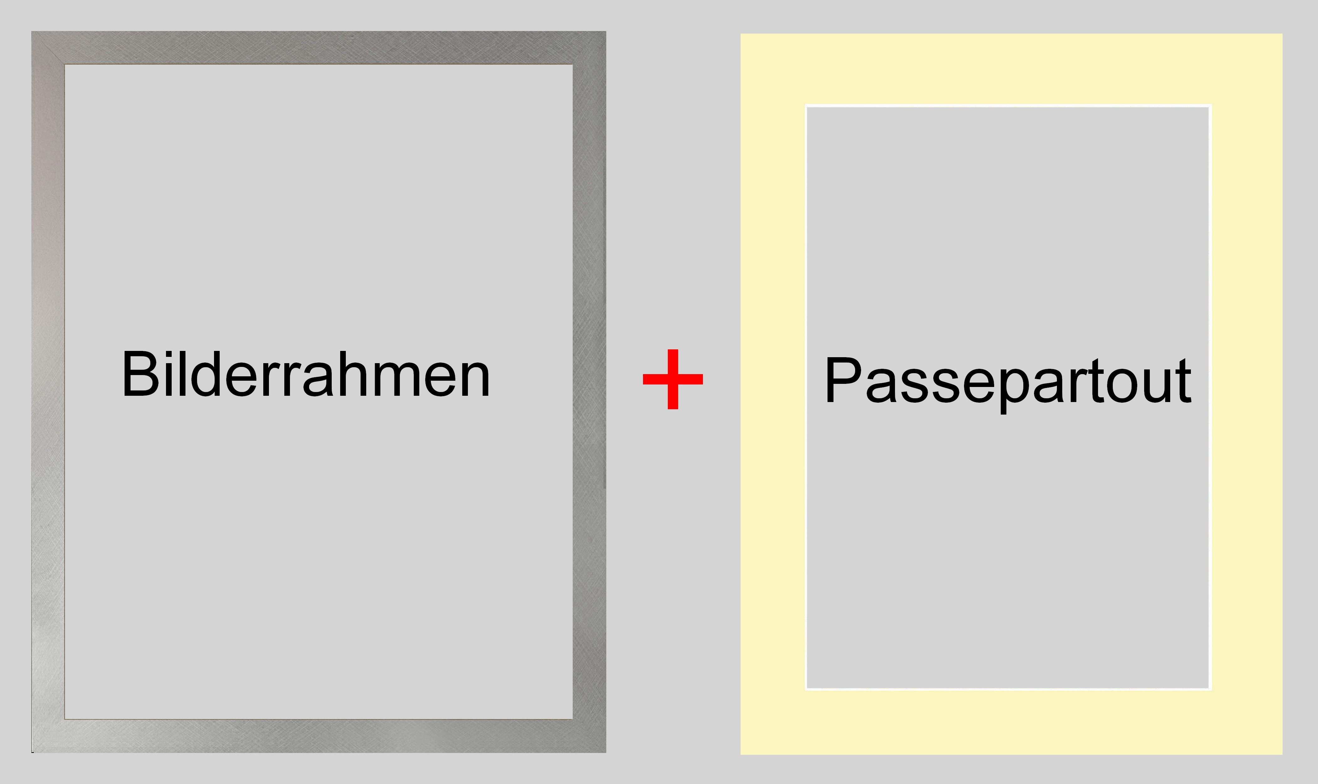 Bilderrahmen Torino Farbwahl 20x20 cm + Passepartout Creme Weiß f ...